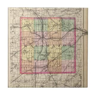 Map of Kalamazoo County, Michigan Ceramic Tile