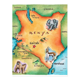 Map of Kenya Postcard