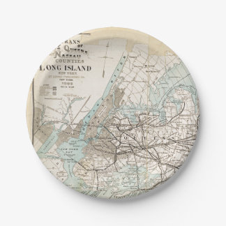 Map of Kings, Queens, Long Island Paper Plate