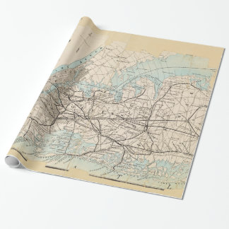 Map of Kings, Queens, Long Island Wrapping Paper