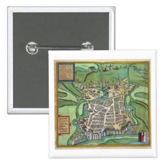 Map of La Rochelle, from 'Civitates Orbis Terrarum 15 Cm Square Badge