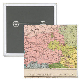 Map of Languages and Religions in Germany 15 Cm Square Badge