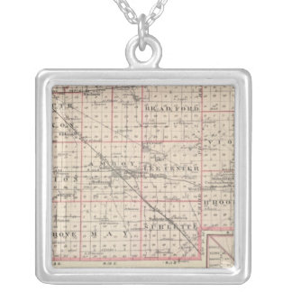 Map of Lee County and Amboy Silver Plated Necklace