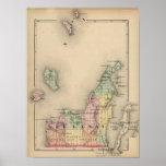 Map of Leelanau County, Michigan Poster