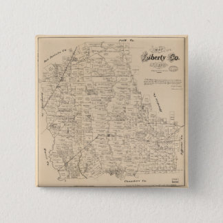 Map of Liberty County, Texas (1879) 15 Cm Square Badge