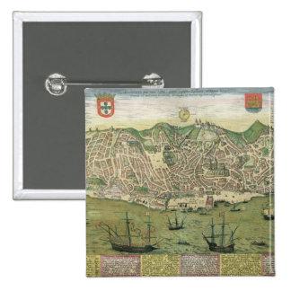 Map of Lisbon, from 'Civitates Orbis Terrarum' by 15 Cm Square Badge