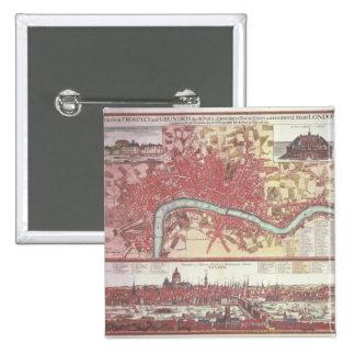 Map of London 15 Cm Square Badge