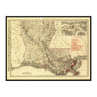 Map of Louisiana (1895) Stretched Canvas Print