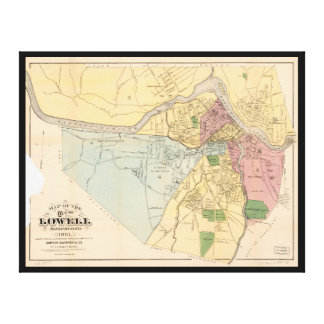 Map of Lowell, Massachusets (1881) Canvas Print