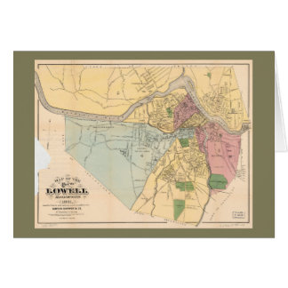 Map of Lowell, Massachusets (1881) Card