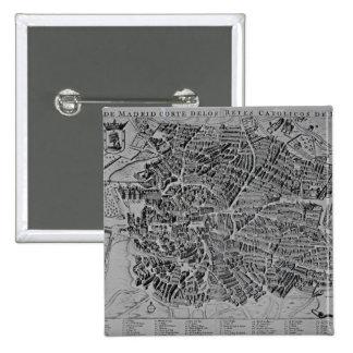 Map of Madrid 15 Cm Square Badge