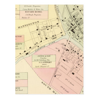 Map of Mannington, West Virginia Postcard