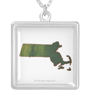 Map of Massachusetts 3 Silver Plated Necklace
