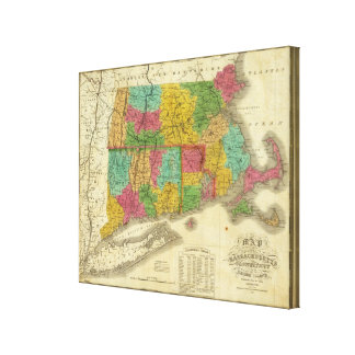 Map of Massachusetts and Connecticut Canvas Prints