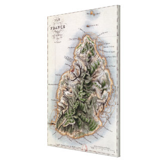 Map of Mauritius, illustration 'Paul et Virginie' Stretched Canvas Prints