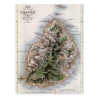 Map of Mauritius, illustration 'Paul et Virginie' Postcard