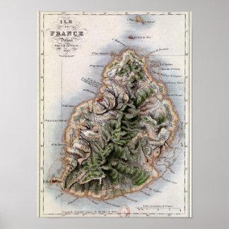 Map of Mauritius, illustration 'Paul et Virginie' Poster