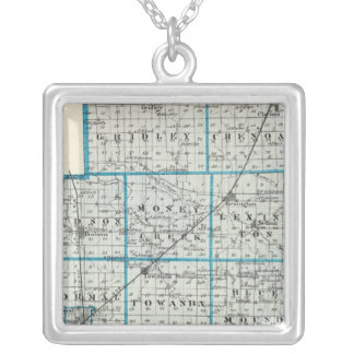 Map of McLean County and Le Roy Silver Plated Necklace
