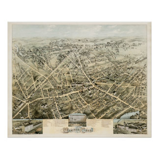 Map of Meriden, Connecticut from 1875 Poster