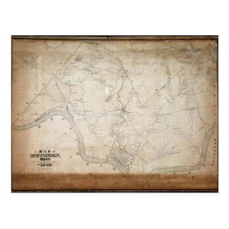 Map of Methuen Massachusetts in 1846 Postcard
