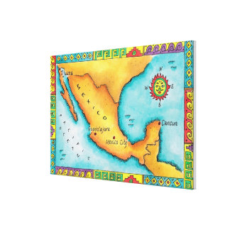Map of Mexico Gallery Wrap Canvas