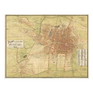 Map of Mexico City from 1907 Postcard