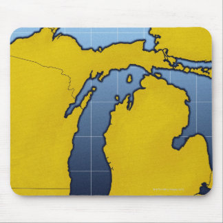 Map of Michigan 2 Mouse Pad