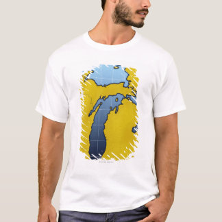 Map of Michigan 2 T-Shirt