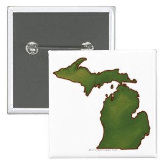 Map of Michigan 4 15 Cm Square Badge