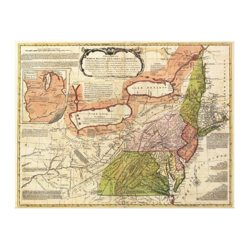 Map of Middle British Colonies in America 1771 Gallery Wrapped Canvas