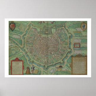 Map of Milan, from 'Civitates Orbis Terrarum' by G Poster