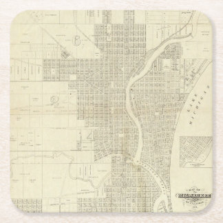 Map of Milwaukee Square Paper Coaster