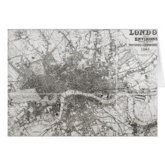 Map of Modern London and its Environs, 1854 Card