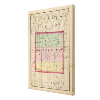 Map of Montmorency County, Michigan Stretched Canvas Prints