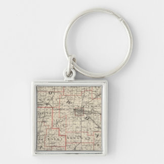Map of Morgan & Scott counties Silver-Colored Square Key Ring