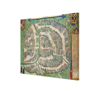 Map of Moscow, from 'Civitates Orbis Terrarum' by Canvas Print