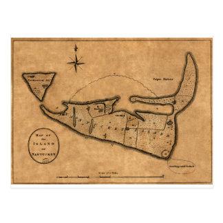 Map of Nantucket 1782 Postcard
