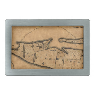 Map of Nantucket 1782 Rectangular Belt Buckles