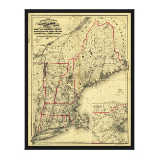 Map of New England and Surroundings (1860) Canvas Print