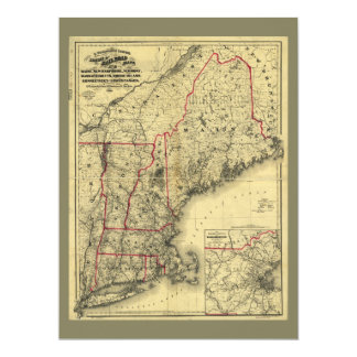 Map of New England and Surroundings (1860) Card