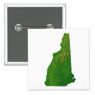 Map of New Hampshire 15 Cm Square Badge