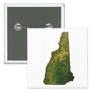 Map of New Hampshire 2 15 Cm Square Badge
