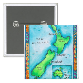 Map of New Zealand 2 15 Cm Square Badge