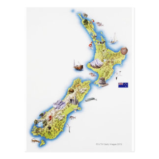 Map of New Zealand Postcard