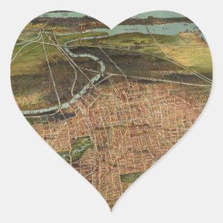 Map of Newark 1916 Heart Sticker