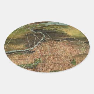 Map of Newark 1916 Oval Sticker