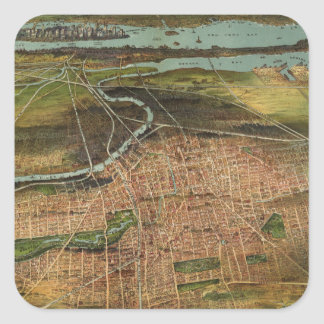Map of Newark 1916 Square Sticker