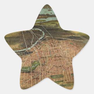 Map of Newark 1916 Star Sticker