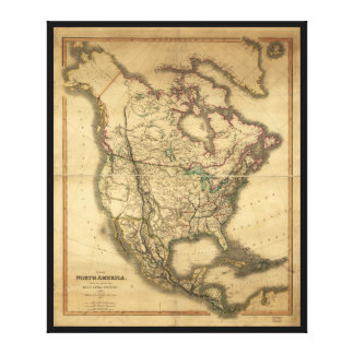Map of North America (1849) Canvas Print