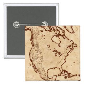 Map of North America 2 15 Cm Square Badge
